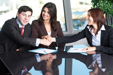 Reconciliation between business people photo