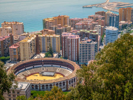 Panoramic view of Malaga and the Bullring in a summer day, Spain