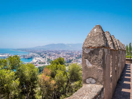 View of Malaga and part of the Gibralfaro castle, Andalucia, Spain.