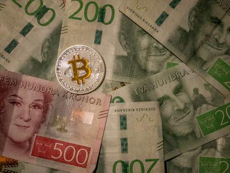 Bitcoin on top of swedish currency Zdjęcie Seryjne - 92211905