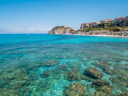 Clear water of Tropea beach in Italy.