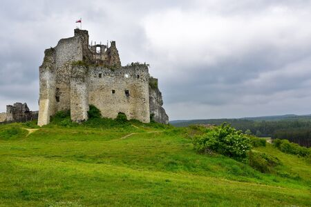 mirow: Landscape of Mirow Castle ruins in Poland