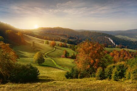 Beautiful view of sunrise in Pieniny mountains. Beskidy Poland 版權商用圖片
