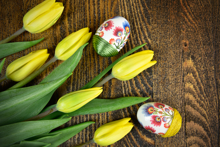 Easter eggs in hand made decoupage decoration. Polish design 版權商用圖片