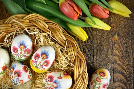 Easter eggs in hand made decoupage decoration. Traditional polish design