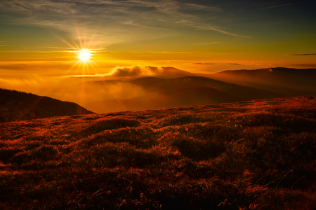 Sunset in the Tatra mountain. Autumn view of polish mountain