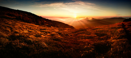 Panoramic view of sunset in Tatra mountain. Poland