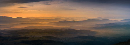 Panoramic view of sunrise in Tatra mountain. View from Babia mountain