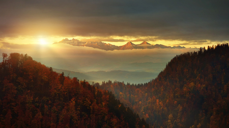 Panoramic view from Solkolica Peak to Tatra mountain. Pieniny mountain Poland