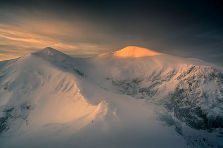 Stunning sunrise in the Tatra mountain. Kopa Kondracka Polish National Park