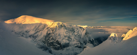 Panoramic view of west Tatra mountains. Polish national park. Malolaczniak peak 版權商用圖片
