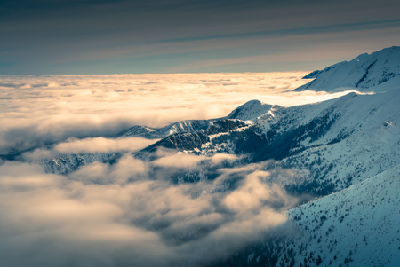 Clouds over the Tatra mountain peaks. Tatra national park