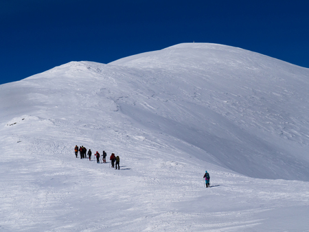 Group of climbers on the trail to the Tatra peak. Tatra national park 版權商用圖片