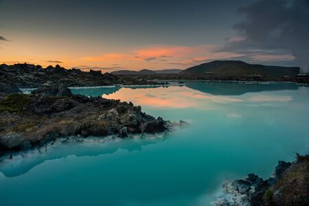 Blue lagoon geothermal spa in Iceland at the sunset.Area of Grindavik and Keflavik