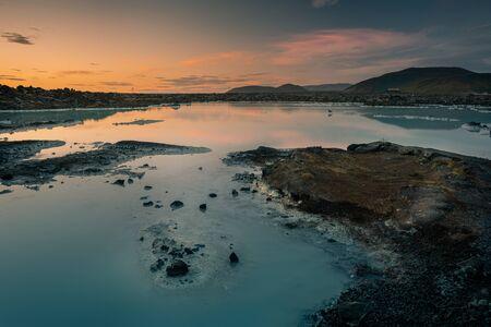 View to Blue lagoon at the sunset. IcelandArea of Grindavik and Keflavik