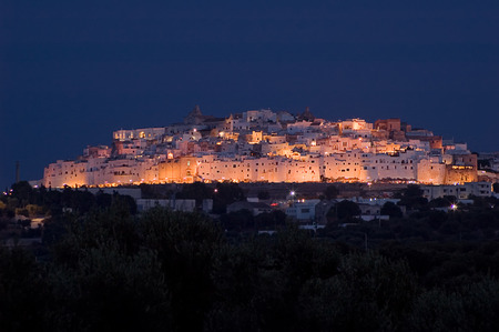 out in town: Ostuni (Apulia-Italy) by night