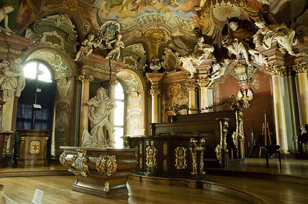 frescoed: The Aula Leopoldina is a room frescoed located within the University of Breslau, in the Silesian Voivodeship, Poland.