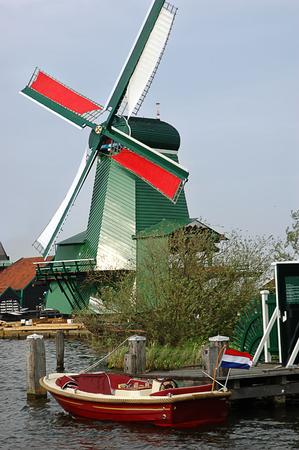 Characteristic windmills in Zaanse Schans village near Amsterdam photo