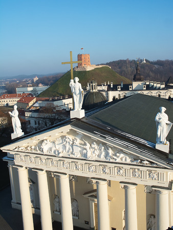 sainthood: Cathedral, Gediminas Hill and three crosses from above in a single photo