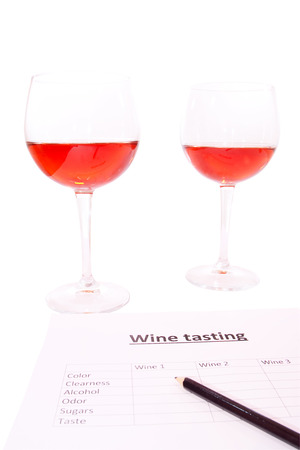 aeration: examination of the wine and notes the results Stock Photo