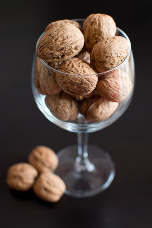 goodness: Nuts in the glass cup: the goodness of dried fruit