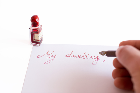 dear: Letter to my dear, handriter with red ink