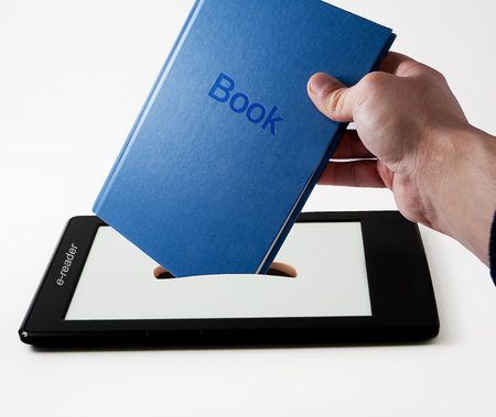 ereader: Download a new book in e-reader Stock Photo