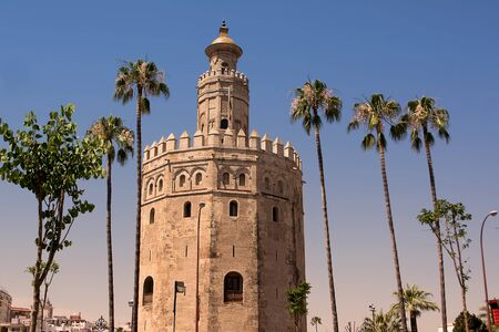 sevilla: Tower gold (Torre de Oro) in Sevilla on Guadalquivir