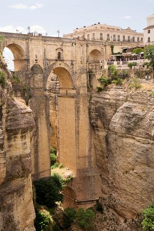 nuevo: New bridge (Puente Nuevo) of Ronda in Spain, typical village in Malaga provence. Stock Photo