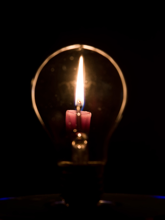 incandescence: Lightbulb and candle flame