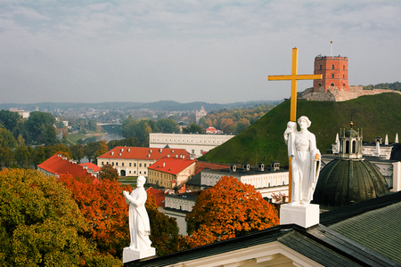 sainthood: Panorama of cathedral of Vilnius  Stock Photo