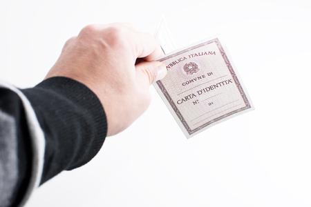 identity card: Italian Identity card and white background Stock Photo
