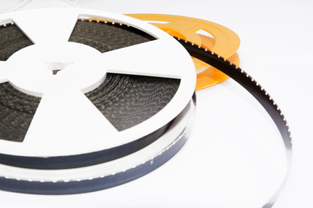 super 8: Spool of film strip of super 8 format Stock Photo