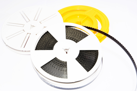 millimetre: Spool of film strip of super 8 format Stock Photo