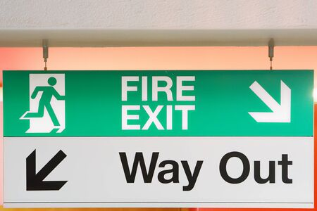 way out: Emergency fire signboard and way out