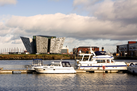 nomadic: Belfast, United Kindom -  febrary 22, 2016: Titani Museum Palace oh the harbour in a sunny day Editorial