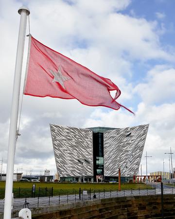 nomadic: Belfast, United Kindom -  febrary 22, 2016: Titanic Museum Palace vieved from Nomadic deck