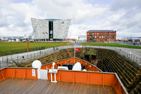 nomadic: Belfast, United Kindom -  febrary 22, 2016: Titanic Museum Palace vieved from Nomadic deck