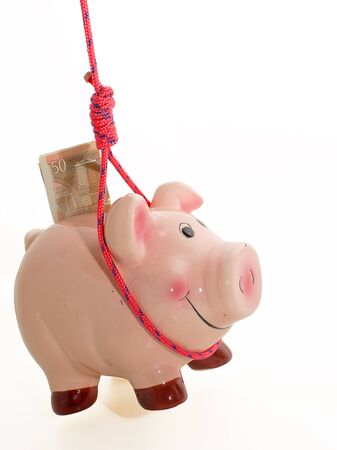 piggybank: suicide of piggybank,  metaphor of financial crisis
