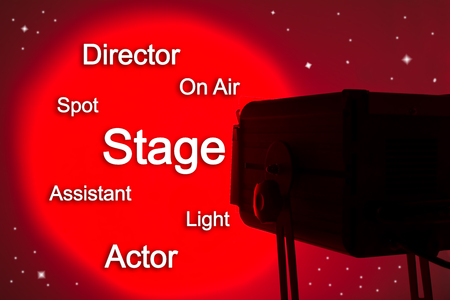 staging: Spotlight and written about stage Stock Photo