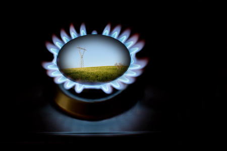 Gas and electricity for protection of environment Stock Photo