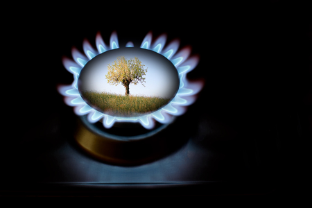 alternatives: Gas production alternatives for ecology and protection of environment Stock Photo