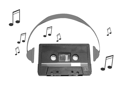 electronic 80s: Audiotape and headphone draw on white background