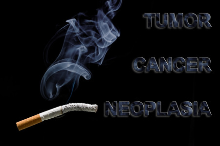neoplasia: Burned cigarette and text Cancer, Tumor, and neoplasia