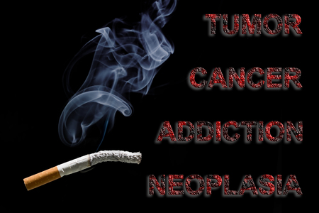neoplasia: Burned cigarette and text Cancer, Tumor, addiction and neoplasia