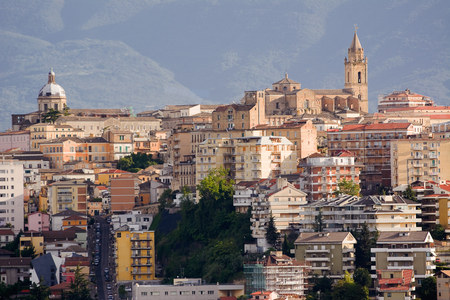 chieti, one of the capitals of Abruzzo photographs with the background of Majella Stock Photo