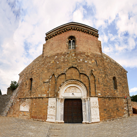 Fisheye of abbey of San Giovanni in Venere in Fossacesia (Italy) Stock Photo