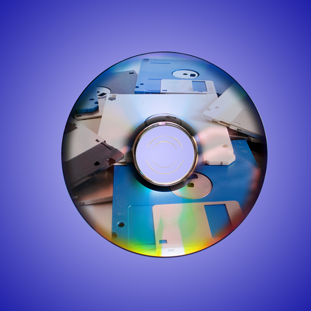 Dvd or cd and old floppy disk inside