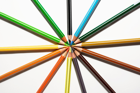 sharp: colored pencils and sharp in circle