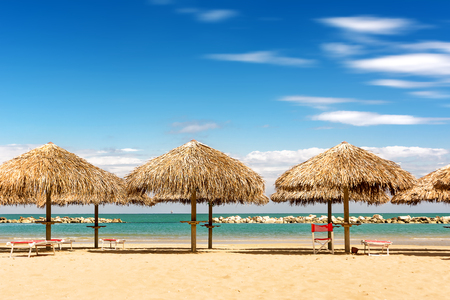 Palm umbrellas on the beach in a sunny day